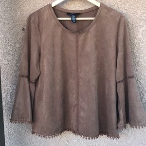 Faux Suede Bell Sleeve Brown Top Size M